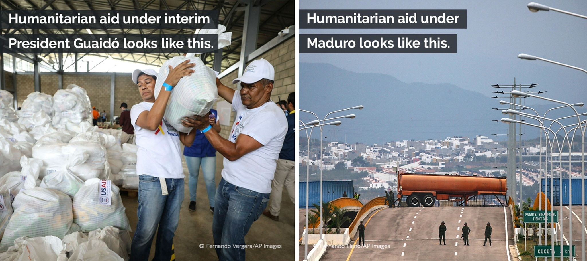 Compilation with men loading bags (© Fernando Vergara) and trucks blocking highway (© Fernando Llano/AP), with text overlaid comparing aid under Guaidó and Maduro governments