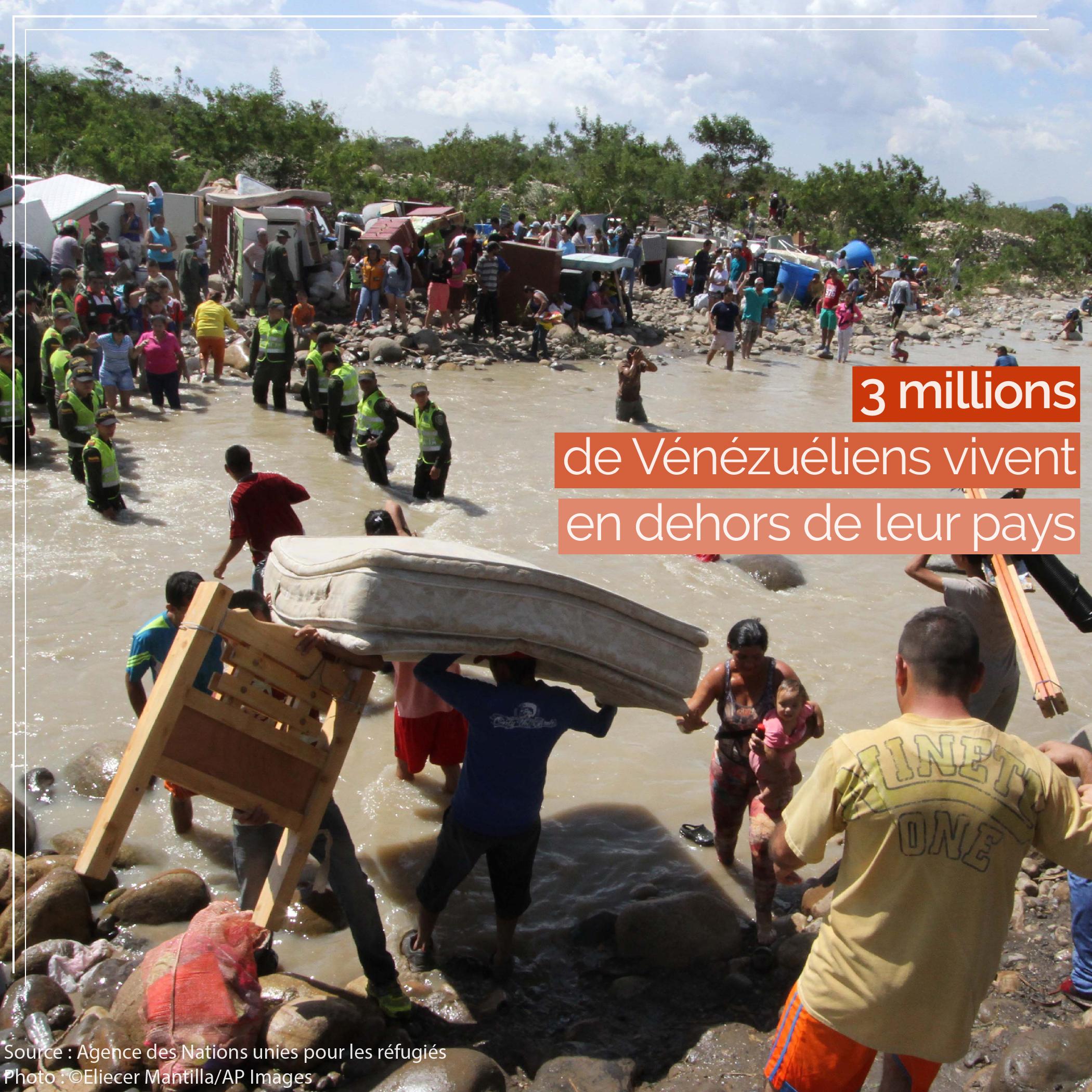 Des gens traversant une rivière avec leurs affaires sur le dos (© Eliecer Mantilla/AP Images)