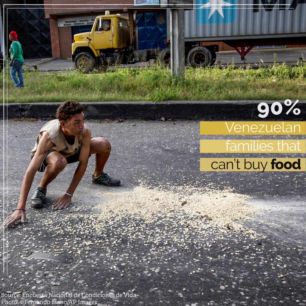 Boy scooping corn kernels from spill in street, with fact on Venezuelan malnutrition overlaid (© Fernando Llano/AP Images)