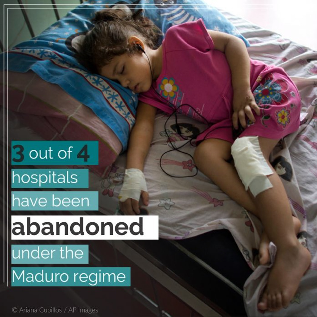 Bandaged girl lying on bed, with fact on abandoned hospitals overlaid (© Ariana Cubillos/AP Images)