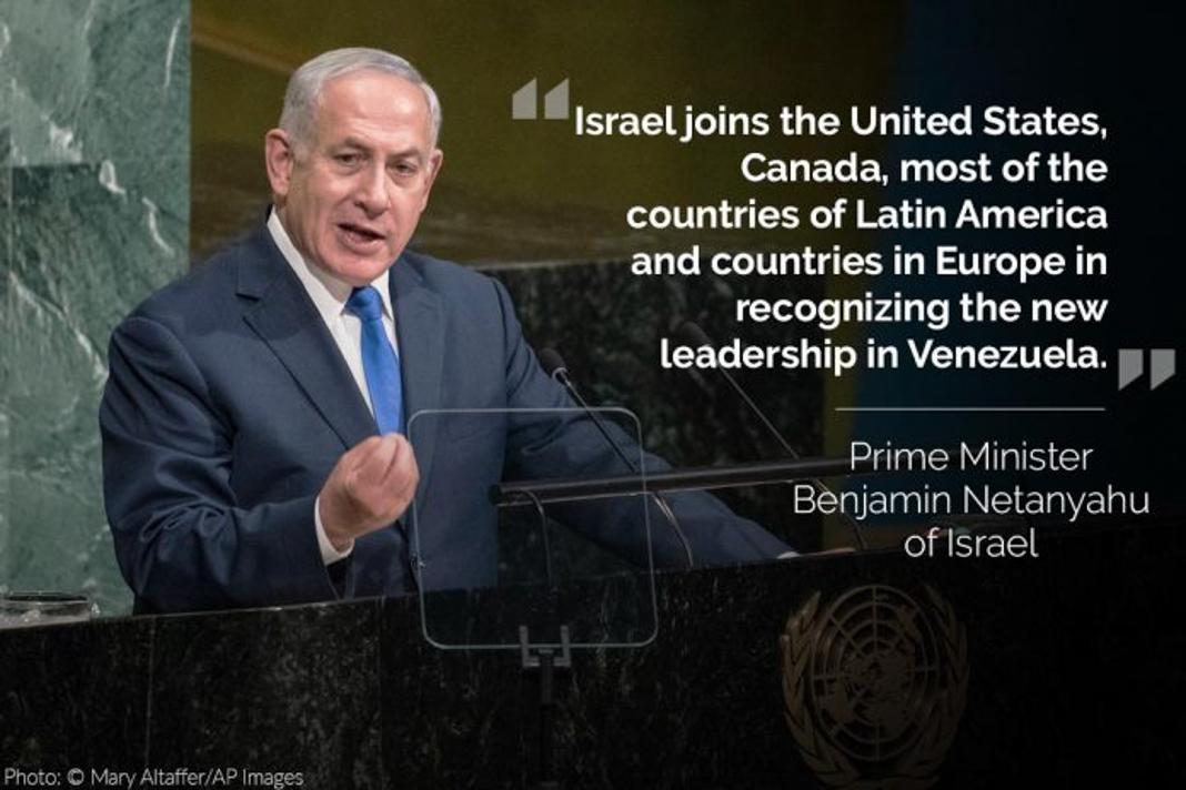 Benjamin Netanyahu, with his tweet overlaid (© Mary Altaffer/AP Images)
