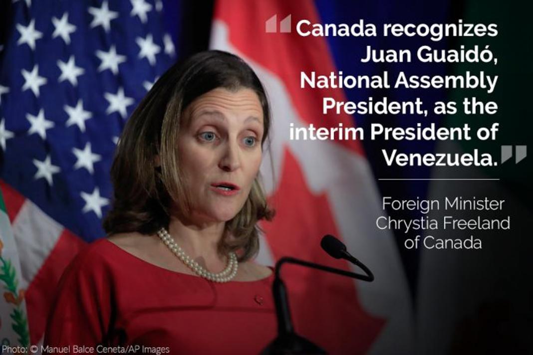 Chrystia Freeland, with her tweet overlaid (© Manuel Balce Ceneta/AP Images)