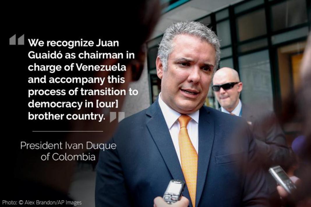 Iván Duque, with his tweet overlaid (© Alex Brandon/AP Images)