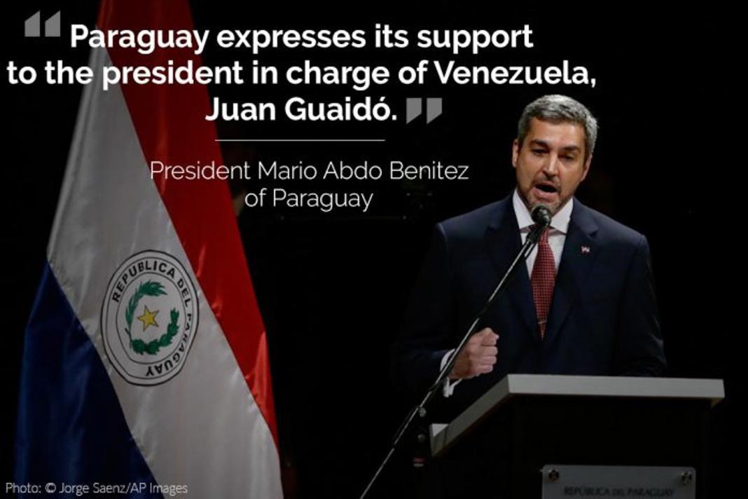 Mario Abdo Benítez, with his tweet overlaid (© Jorge Saenz/AP Images)
