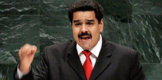 Nicolás Maduro shaking his fist