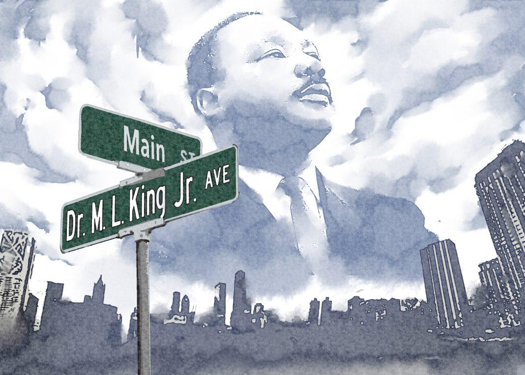 Ilustración de Martin Luther King Jr. sobre un cartel indicador de la calle que lleva su nombre (Depto. de Estado/D. Thompson)