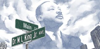 Illustration of Martin Luther King Jr. above street sign bearing his name (State Dept./D. Thompson)
