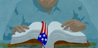 Illustration of man reading book with U.S.-flag bookmark (State Dept./D. Thompson)