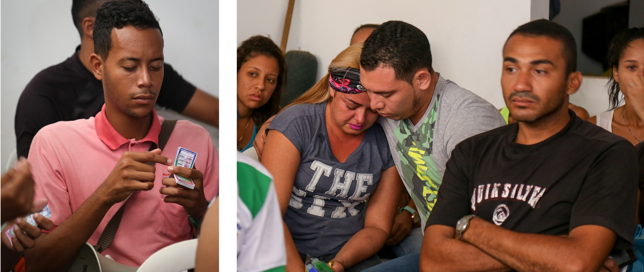 Left: A man holding vouchers. Right: Two people hugging amongst a group of people sitting (Alison Harding/USAID/OFDA)