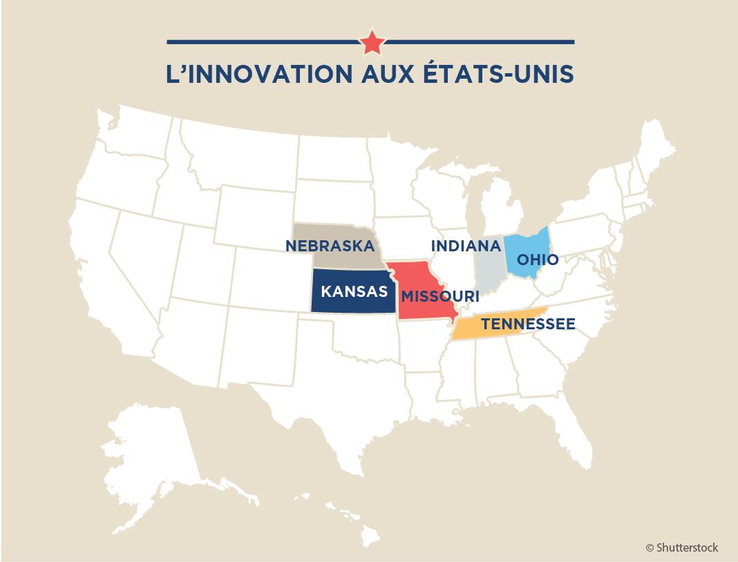 Carte des États-Unis dont six États sont colorés (Maruszewski/Département d'État)