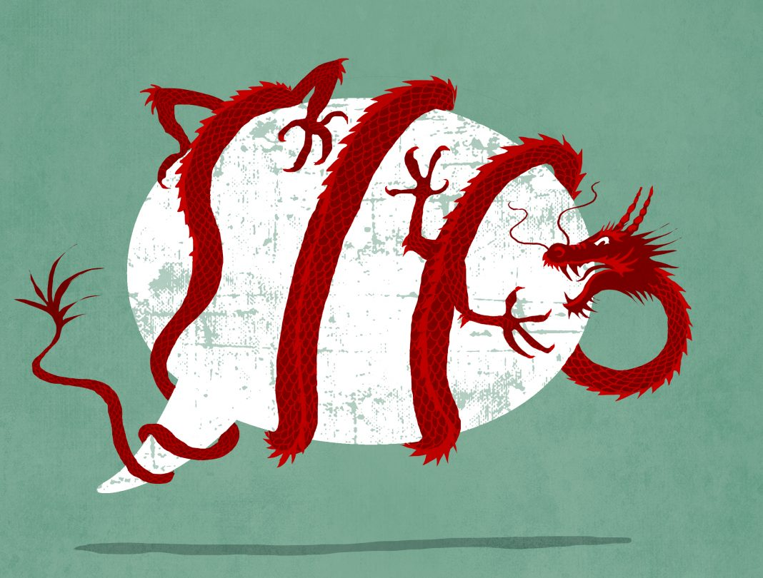 Drawing of Chinese dragon wrapped around speech balloon (State Dept./D. Thompson)