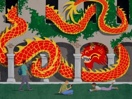 Illustration of dragon snaking through university building near students walking and sitting on grass (State Dept./D. Thompson)