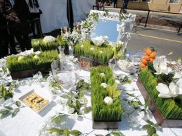 Table with items symbolizing spring