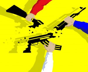 Illustration of three arms holding automatic weapons (State Dept.)