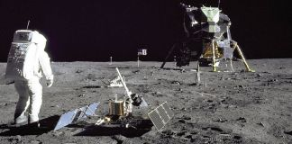 Astronaut and lunar module on the moon (NASA)