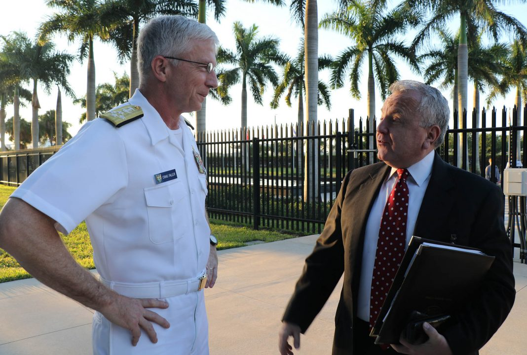 Deputy Secretary of State John J. Sullivan talking with Navy Adm. Craig Faller (left) (Jose Ruiz/U.S. Southern Command Public Affairs)