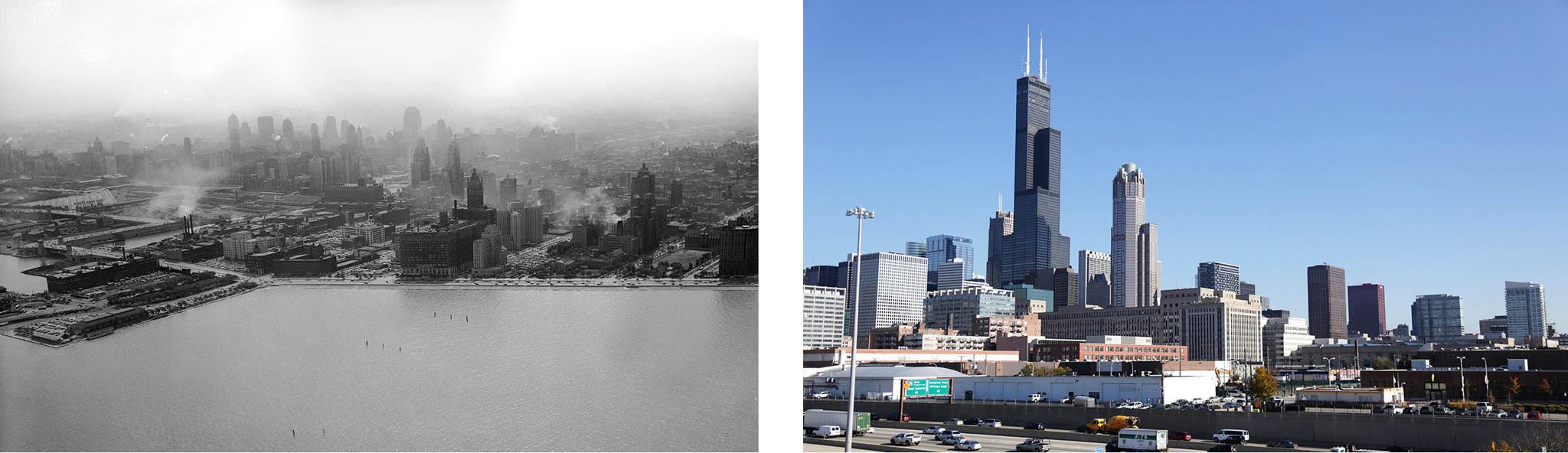 Silhueta da cidade de Chicago no horizonte com smog, à esquerda, e ar limpo, à direita (Foto da esquerda: © Kirn Vintage Stock/Alamy; Foto da direita: © M. Spencer Green/AP Images)