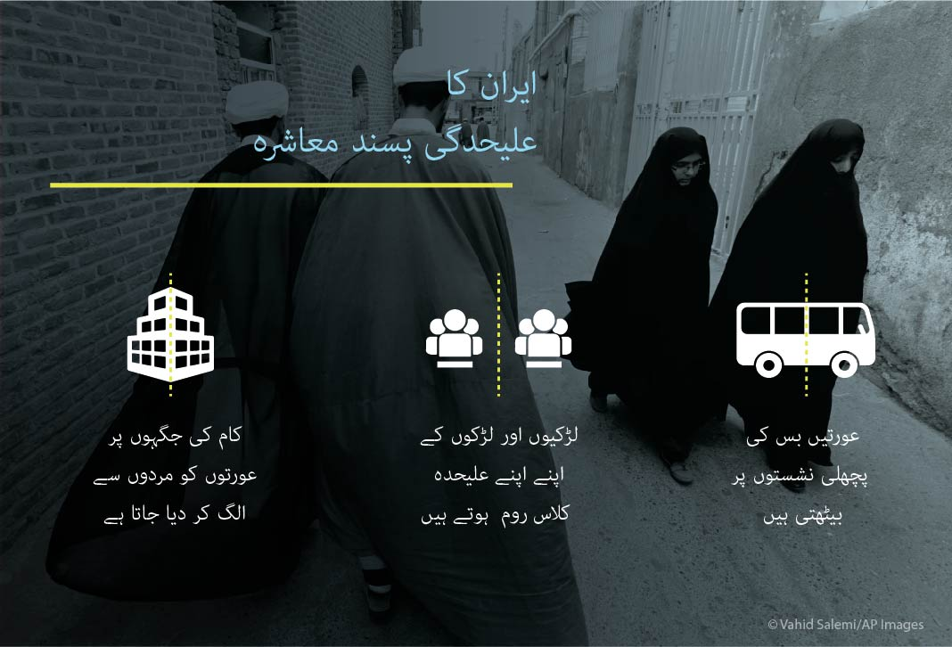 Graphic with examples of segregation of Iranian women and girls (State Dept.)