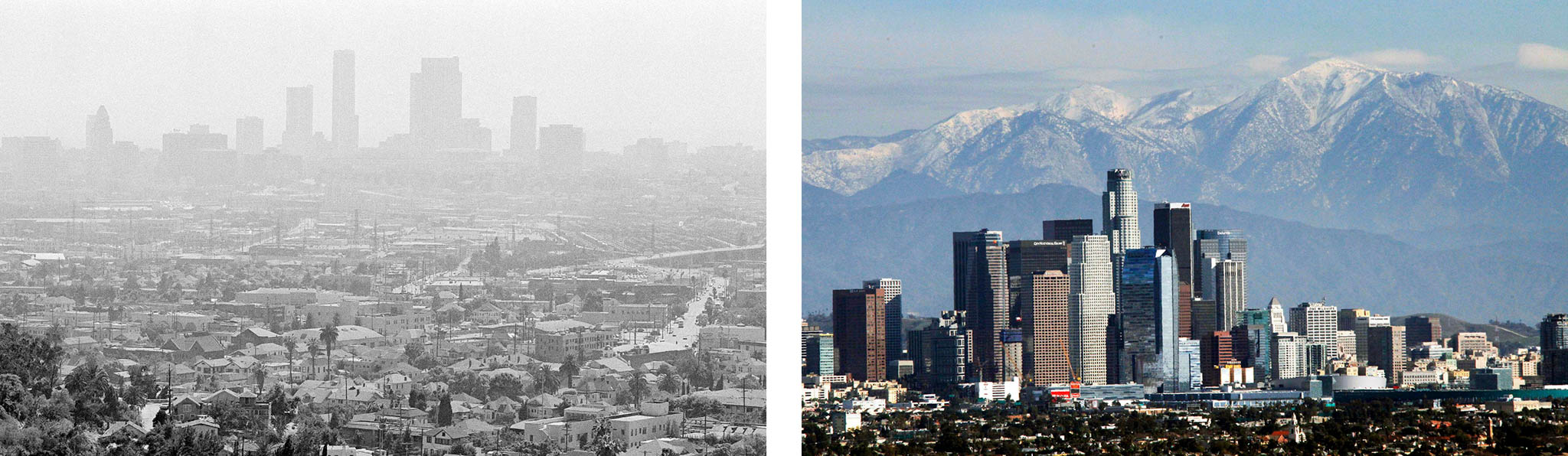 Los Angeles with smog, left, and with clean air revealing the San Gabriel Mountains, right (Both images © Nick Ut/AP Images)