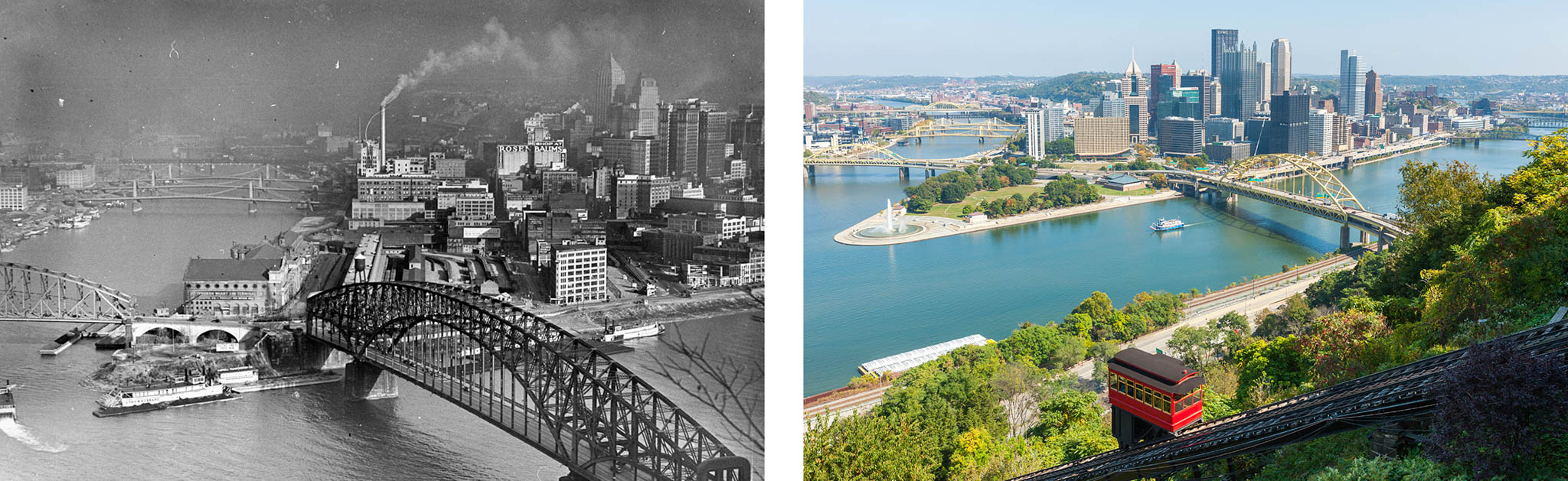 Black-and-white photo of smog-covered Pittsburgh and color photo of Pittsburgh with clean air (Left photo © Margaret Bourke-White/The LIFE Picture Collection/Getty Images. Right photo © Clarence Holmes Photography/Alamy)