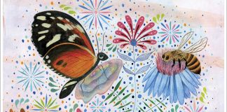 """Colorful environmental poster with drawings of various pollinators and text saying """"Preserve the Earth"""" (State Dept.)"""