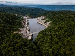 An aerial view of the Coca Codo Sinclair Dam project (© Federico Rios Escobar/The New York Times/Redux)