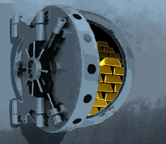 Illustration of open vault with gold bars showing (State Dept./D. Thompson)