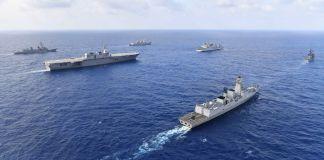 Group of warships sailing (Japan Maritime Self-Defense Force/U.S. Navy)