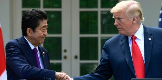 Shinzō Abe and Donald Trump shaking hands (© Susan Walsh/AP Images)