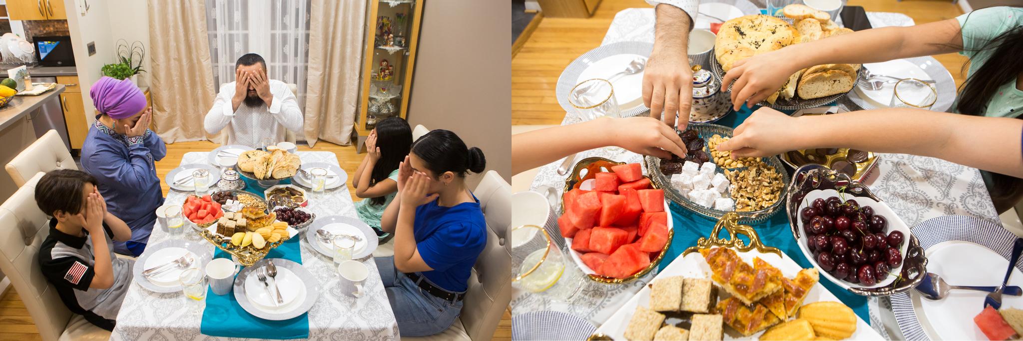 Di sebelah kiri, satu keluarga berdoa di meja makan. Di sebelah kanan, orang-orang mengulurkan tangan ke mangkuk-mangkuk makanan (Departemen Luar Negeri/D.A. Peterson