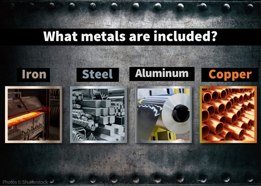 Graphic showing four types of metal (State Dept.)