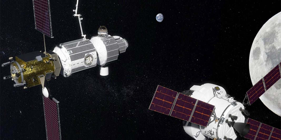 Artist's conception of two small spaceships orbiting moon (NASA)
