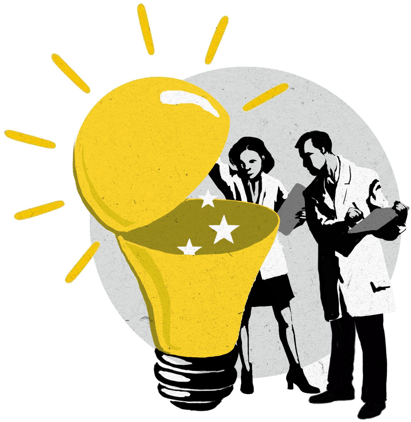 Двое человек открывают большую лампочку (State Dept./D. Thompson)