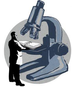 Мужчина с открытой тетрадью под микроскопом (State Dept./D. Thompson)