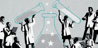 Illustration of a crowd of scientists mixing the colors of the U.S. flag in a beaker.