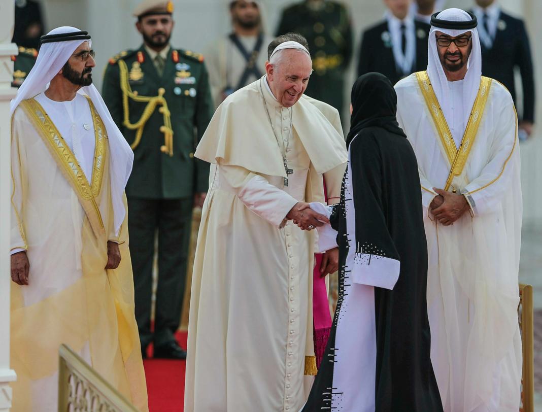 Pope Francis, Mohammed bin Zayed Al Nahyan, Mohammed bin Rashid Al Maktoum (© Kamran Jebreili/AP Images)