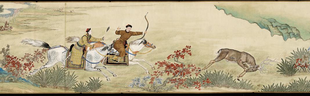 Dibujo de tinta en papel muestra a emperatriz y emperador chinos cazando con arcos montados a caballo (© The Palace Museum)