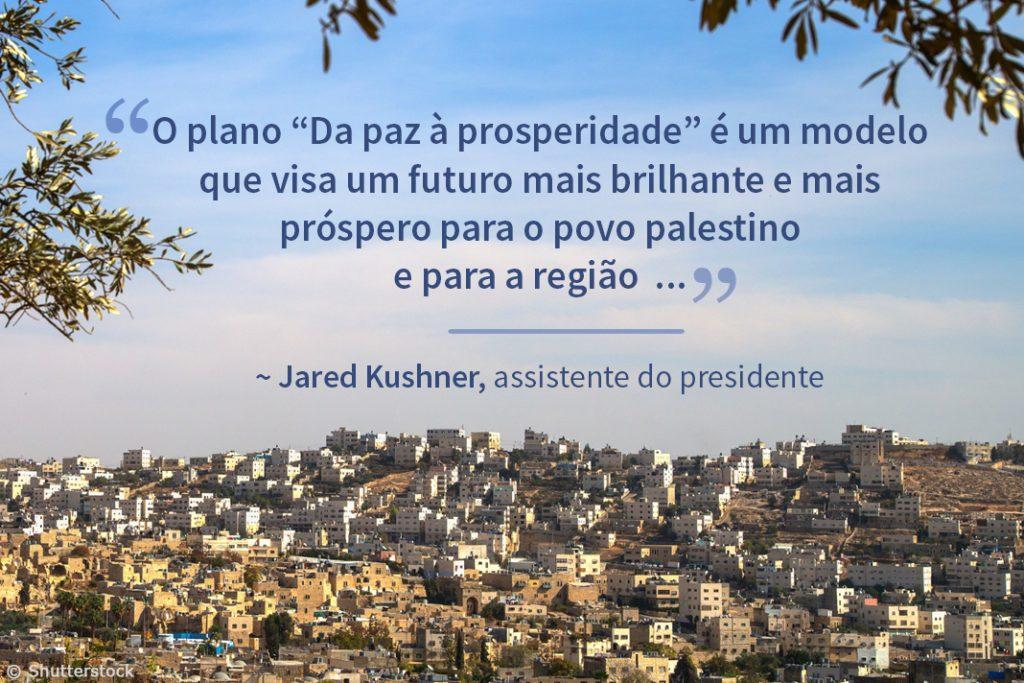 """Vista de colinas de cidade do Oriente Médio com texto sobreposto do plano """"Da paz à prosperidade"""" (Depto. de Estado/Fotos: © Shutterstock)"""
