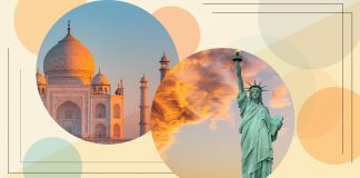 Images du Taj Mahal et de la Statue de Liberté