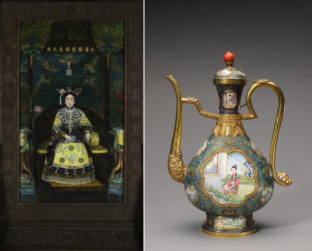 A la izquierda, pintura al óleo de una emperatriz china sentada en un trono. A la derecha, un elaborado jarrón (© The Palace Museum)