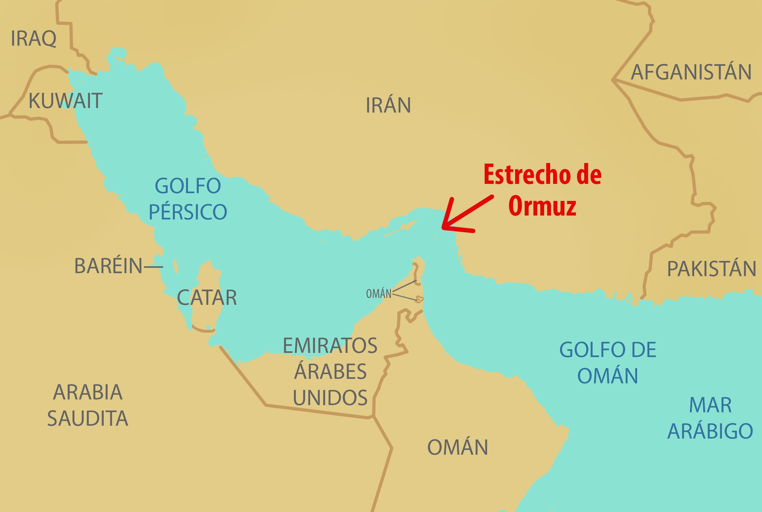 Mapa muestra el estrecho de Ormuz y países circundantes (Depto. de Estado/D. Thompson)