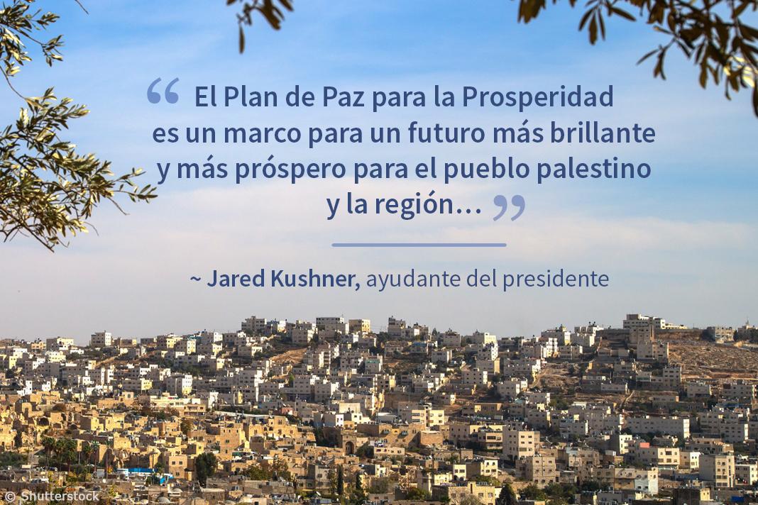 Vista de serranías de una ciudad de Oriente Medio con texto superpuesto sobre el Plan de Paz para la Prosperidad (Depto. de Estado/Fotos © Shutterstock)