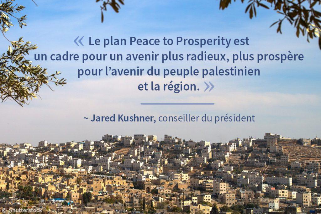 Vue des collines d'une ville du Moyen-Orient avec une citation sur le plan « De la paix à la prospérité » (Département d'État/Photo © Shutterstock)