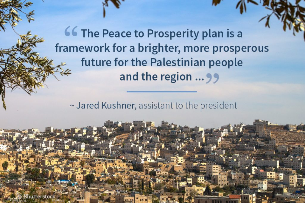 View of hills of Middle Eastern city with superimposed quote on Peace to Prosperity plan (State Dept./Photo © Shutterstock)