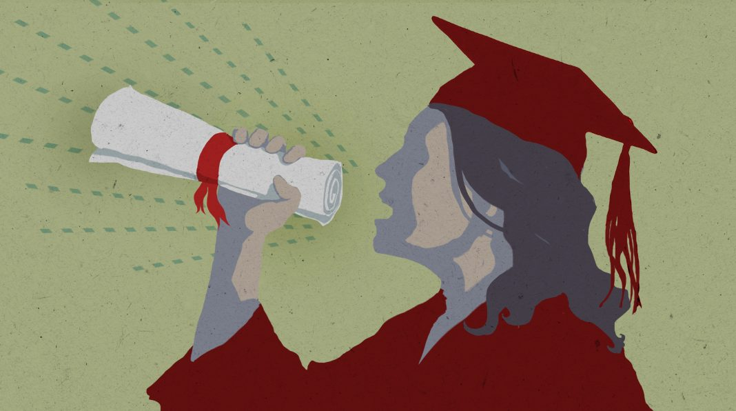 Illustration of a student using a diploma as a megaphone.