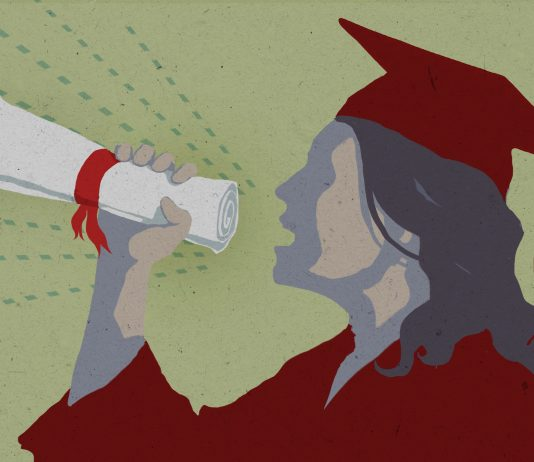 Drawing of student using diploma as megaphone (State Dept./D. Thompson)
