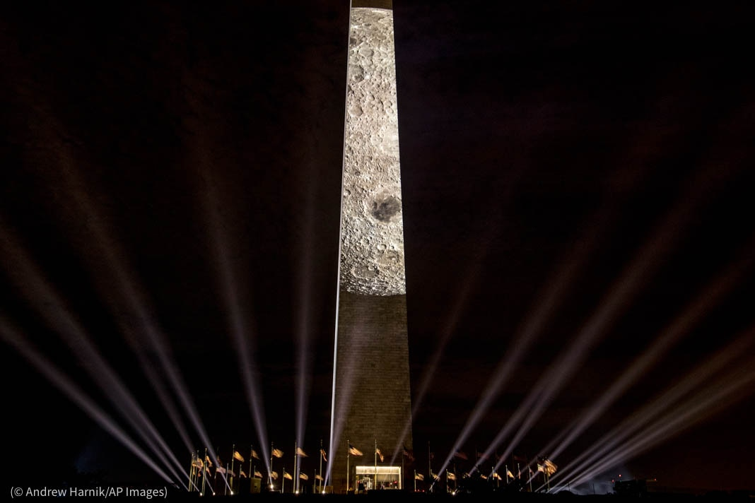 Moon's surface projected onto Washington Monument (© Andrew Harnik/AP Images)