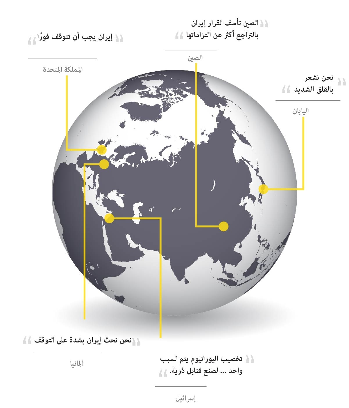 Image of globe with quotes from different countries about Iran's nuclear enrichment (State Dept.)