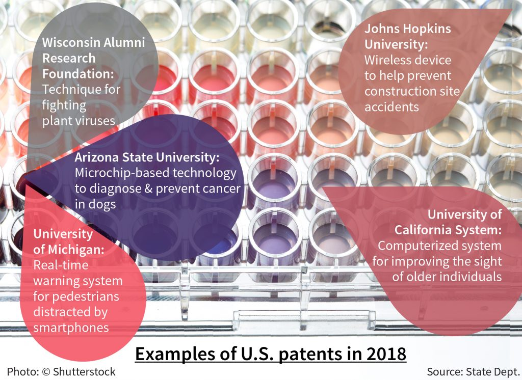 Graphic giving five patent examples (State Dept./S. Gemeny Wilkinson)