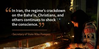 Pompeo quote on Iran's crackdown on religious minorities, photo of woman lighting candles (© Ebrahim Norooz/AP Images)